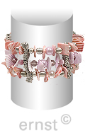 elastic silicone 3-row bracelet with pearls, facetted glassbeads, crazy - cut shell - parts, casting spacers