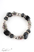 elastic glassbeads bracelet with rhinestone rondels, metal parts and rose glassbeads, nickel tested