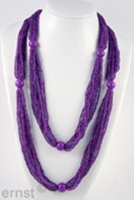 10 row nylonnecklace, endless,  with glassbeads and acrylicbeads