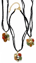 2 rows fabric cord necklace with flower pendant