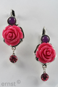 35 mm frenchhook earring with epoxy-resin flower pendant and rhinestone