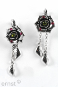 5 cm frechhook earring with casting flower with rhinestone and 2 casting leaf pendants